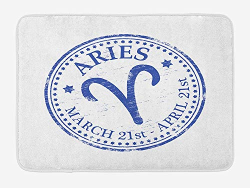 Zodiac Aries Bath Mat, Vintage Rubber Stamp Design with Horoscope Sign Stars and Dates, Plush Bathroom Decor Mat with Non Slip Backing, 23.6 x 15.7 Inches, Royal Blue and White