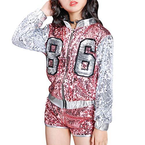 (Gtagain Tanzsport Bekleidung Mädchen Kleider - Kinder Erwachsene Tanzen Hip Hop Modern Show Kostüme Pailletten Anzüge Mode Sets Weste + Shorts Mantel Tanzbekleidung)
