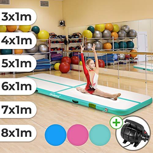 Physionics Track - aufblasbar, mit elektrischer Luftpumpe, PVC, Air, Farbwahl, Größenwahl: 3 4 5 6 7 8 m - Gymnastikmatte, Tumbling Matte, Trainingsmatte, Fitnessmatte (Mintgrün, 300x100x10 cm)