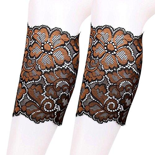 Tinksky Beinlinge kurz Damen Beinstulpen Stretch Spitze Boots Strümpfe (Kaffeebraun) (Spitzen-stretch-stiefel)
