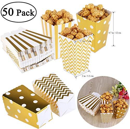 üten, Papier Popcorn-Boxen, Papierbox und Papiertüte für Mahlzeiten, Popcorn-Behälter für Partys und Filme Gold with Dots ()