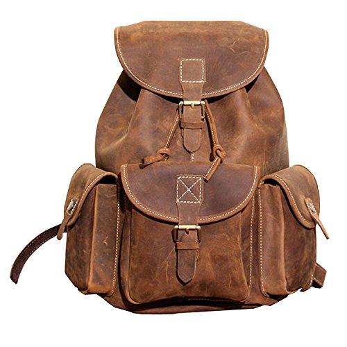 Paonies Herren Damen Büffelleder Tasche Rucksack Schulrucksack Schultertasche für Outdoor Sports Uni Reise
