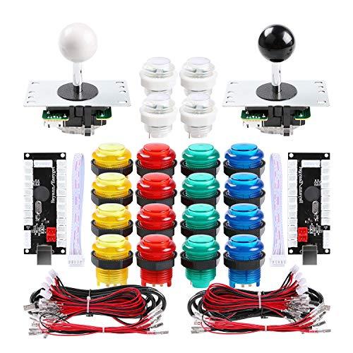 Hikig 2 Spieler Arcade Spiele Controller, DIY Teile Kit, 2X 5PIN Joystick + 20x LED Arcade Tasten + 2X Zero Delay USB Encoder, Mehrfarbig (Arcade-cabinet Controller)