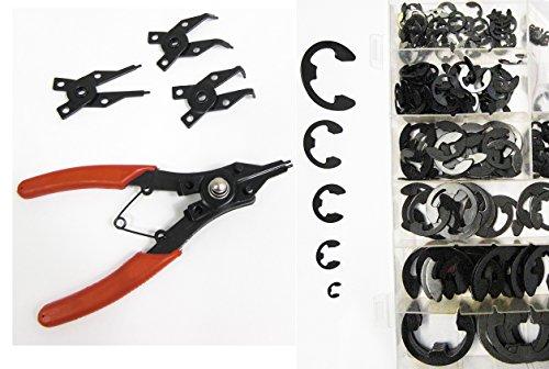 305-tlg Set: 300 Sicherungsscheiben C-E-Clip + 5tlg Zangen-Satz Universal Sicherungzange
