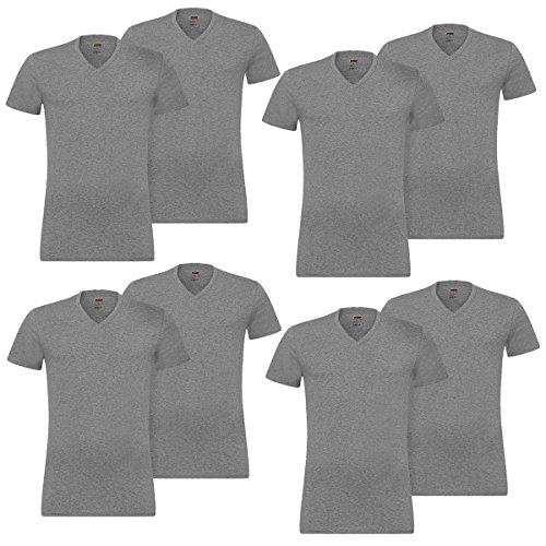 Levis® Herren V-Neck T Shirt 4er Pack Grau (Middle Grey Melange 758)