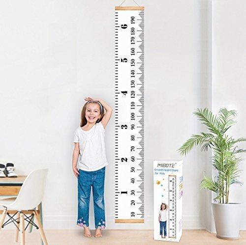 Mibote Messlatte für Kinder Wand Höhe Diagramm Leinwand Kinderzimmer Hängende Wachstumskarte Wachstumsmesser Messleiste in Weiß 20cm x 200cm