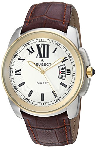 Peugeot Men's Analog Quartz Watch with Leather Strap 2045GBR