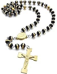 MunkiMix Stainless Steel Rubber Pendant Necklace Gold Tone Black Virgin Mary Jesus Christ Crucifix Cross Rosary 26 Inch Chain Men,Women ,Chain