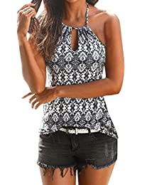 Mujer Blusa verano,Sonnena ❤ ❤ sexy off hombro blusa con tirantes Patrón de vintage estampado sin manga casual…