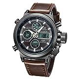 Orologio, orologio da polso sportivo analogico digitale da uomo, orologio da polso in pelle marrone con allarme data multifunzione a LED