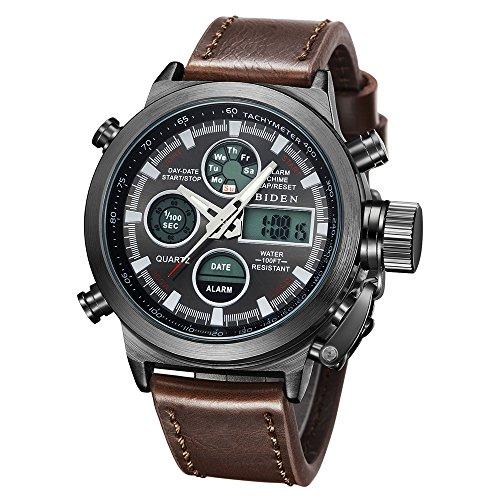 Regarder, regarder les hommes analogiques sport montre étanche, multifonctions LED Date alarme cuir brun montre-bracelet
