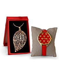 TiedRibbons Valentine's day gift for Wife Women Her Lover girl Girlfriend Women's Wrist Watch with with Leaf shaped Gold Plated Pendant