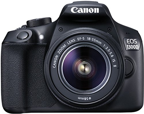 Canon EOS 1300D 18MP Digital SLR Camera (Black) + 18-55mm + 55-250mm IS II Lens + 16GB Card + Carry Case + Motorola Pulse Escape Wireless Bluetooth Over-Ear Headphones