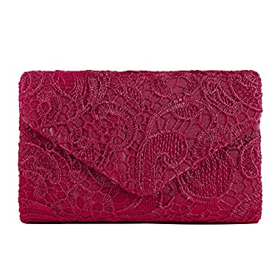 Ladies Satin Lace Envelope Clutch Bag, Clorislove Evening Shoulder Bag for Bridal Wedding Handbag Prom Bag
