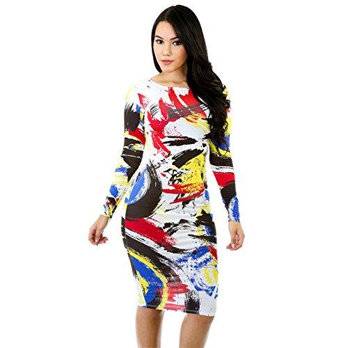 erica-robe-courte-imprime-huile-huile-multicolore-pour-femme-col-rond-manches-longues-longueur-genou