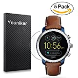 Youniker Lot de 5 Fossil Q eXplorist Gen 3 protection d'écran, Fossil Q protection écran Foils pour Fossil Q eXplorist Gen 3 Ftw4004 Crystal Clear HD, anti-rayure, anti-traces de doigts, Bubble Gratuit film
