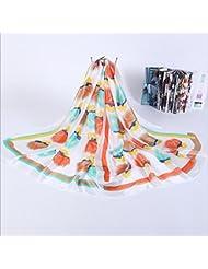ZLL Creativa vintage grabado seda pañuelo de seda, protector solar, toallas de playa , 4