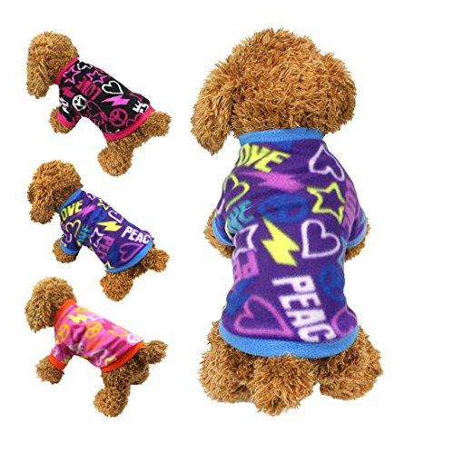 e Kleidung Graffiti Style Soft Fleece Pullover Shirt Coat für kleine Hunde/Welpen/Teddy Chihuahua Pudel Jungen Mädchen (Pudel-mädchen-kostüm)