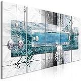 murando Bilder Abstrakt 200x80 cm - Vlies Leinwandbild - 5 Teilig - Kunstdruck - Modern - Wandbilder XXL - Wanddekoration - Design - Wand Bild - Grau Beige Weiß Blau Türkis a-A-0343-b-p