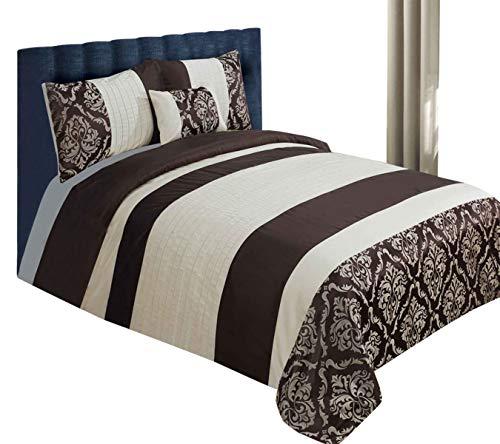 Sterling Mill Luxus Saphir Bettwäsche Bettbezug/Bettwäsche-Set mit Kissenbezügen und Kissenbezug, Kunstseide-Schokolade Braun & Creme, beige, Doppelbett -