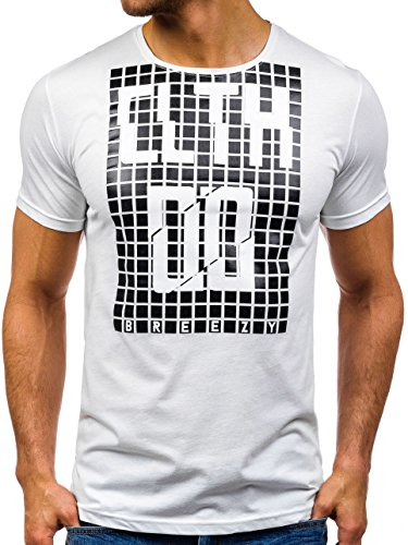BOLF Herren T-Shirt Tee Kurzarm Motiv Kurzarm Slim Fit Casual Party 3C3 Print Weiß