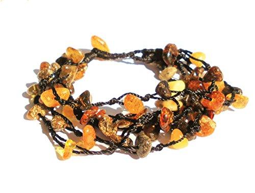 Bracciale di vera ambra adulto Famme '(17,5cm), Multicolore