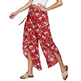 Gedruckte Yoga Hosen porthose Tights Training Hosen MYMYG Lose Blumendruck Yoga Hosen Baggy Boho Aladdin Beach Pants(rot,EU:40/CN-XL)