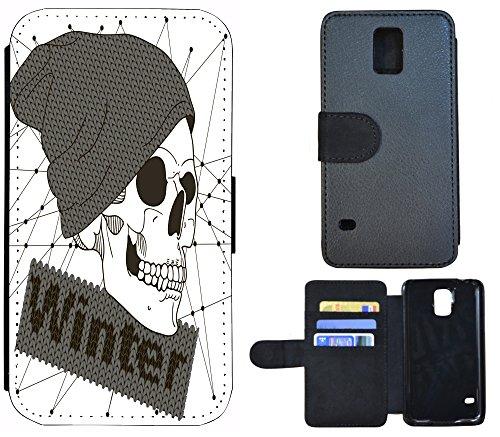 Flip Cover Schutz Hülle Handy Tasche Etui Case für (Apple iPhone 5 / 5s, 1251 Baby Katze Kätzchen Grau Weiß) 1253 Totenkopf Cartoon Grau