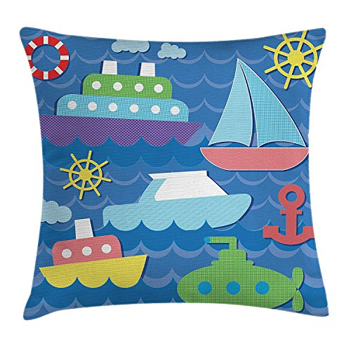 Sea Theme Throw Pillow Cushion Cover, Vector Illustration of Sea Transportation Elements Anchor Steering Wheel Print, Decorative Square Accent Pillow Case, 18 X18 Inches, Multicolor (Cat Wheel Company)