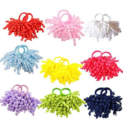 DECEYO 18 Stück Boutique Mädchen Solid Curly Bow Hair Ties Mädchen Pferdeschwanz ()