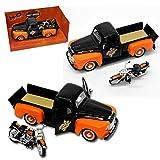 alles-meine.de GmbH Ford F-1 Pick-Up 1948 Schwarz Orange mit 1958 FLH Duo Glide Harley Davidson 1/24 Maisto Modell Auto