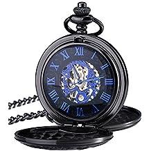 Reloj de Bolsillo Mecánico de Números Romanos Azules con Cadena y Doble Abierto