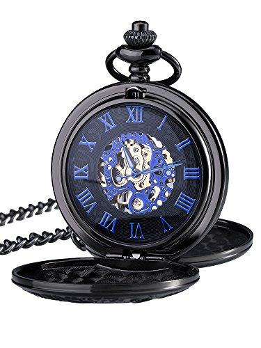 Blau Retro Roman Ziffern Skale Doppelt Öffnen Kette Mechanische Taschenuhr für Herren Vatertag Geschenk