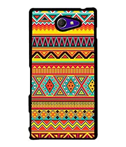 PrintVisa Designer Back Case Cover for Sony Xperia M2 Dual :: Sony Xperia M2 Dual D2302 (Artistic Rangoli Design In Orange And Yellow Colours)