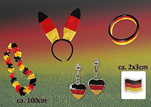 Fan Set, 5-tlg. Deutschland, EM, WM, Fußballparty, Germany, Fanartikel