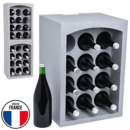 Talous BuonVino Weinregal - Flaschenregal stapelbar aus Styropor für 12 Flaschen - Flaschenkiste...