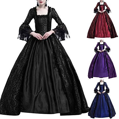 Damen Kleid, Mittelalterliche Renaissance Königin Ballkleid Bell Sleeve Maxi Kleid Halloween Kostüm Geschenk Lila LNone (Mittelalterliche Theater Kostüm)