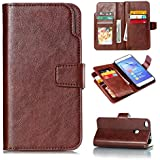 Huawei P8 Lite Case, Danallc Huawei P8 Lite Leather Wallet Case Book Design With Flip Cover And Stand [Credit Card Slot] Cover Case Compatible With Huawei P8 Lite - Brown