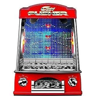 Garden Mile Novelty Minature Coin Pusher Retro Fairground Arcade Game With Light & Sound Cascade Reflex Skill Game Penny Pusher