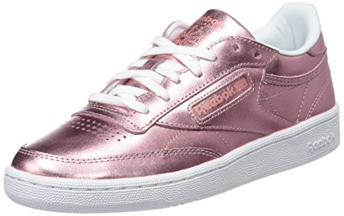 Reebok Damen Club C 85 S Shine Sneaker, Pink rosa/weiß, 37.5 EU (Reebok Rosa T-shirt)