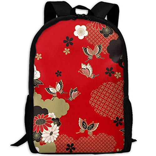 TRFashion Japanese Red Style Beauty Floral Pattern Unisex Unique Backpack School Casual Sports Book Bags Durable Oxford College Laptop Computer Shoulder Bags Lightweight Travel Daypacks Rucksack