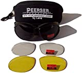 PEERSER Padded Motorcycle Biker Anti-Fog ShatterProof Goggles with Interchangeable Lenses
