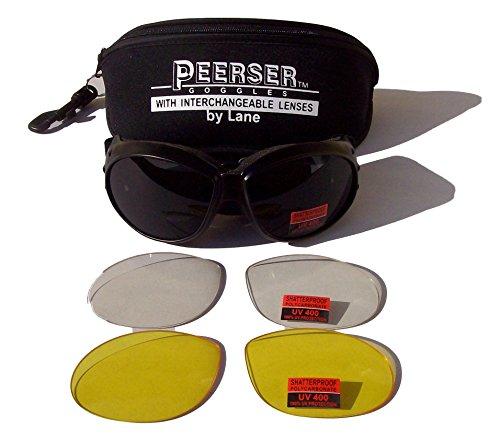 Peerser Brille, für Motorrad/Fallschirmspringen, beschlagfrei, bruchsicher, austauschbare Gläser