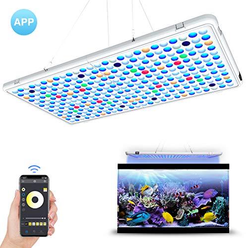 Relassy LED Aquarium Beleuchtung APP-Steuerung Automatische EIN/Aus 56x30cm Aquarium LED Lampe Dimmbar mit Timing-Funktion Vollspektrum AquariumLicht für Korallen, Wasserpflanzen
