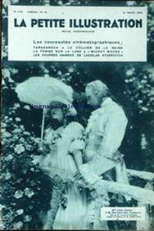 PETITE ILLUSTRATION CINEMA (LA) [No 472] du 22/03/1930 - LES NOUVEAUTES CINEMATOGRAPHIQUES - TARAKANOVA - LE COLLIER DE LA REINE - LA FEMME SUR LA LUNE - MICKEY MOUSE - LES POUPEES ANIMEES DE LADISLAS STAREVITCH - MLLE EDITH JEHANNE ET M. OLAF FJORD - RAYMOND BERNARD - ANDRE LANG. par Collectif
