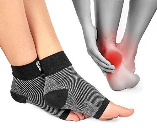 Modetro Sports Premium Kompressionssocken lindern Fersensporn, Plantarfasciitis und Fuß Schmerzen | Fersensporn Socken grau