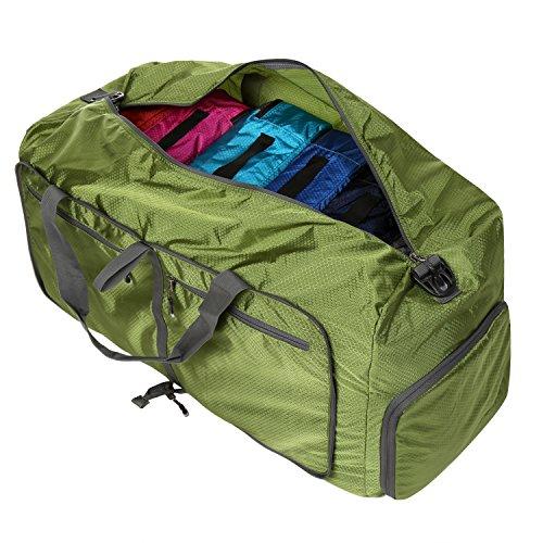 Homdox 85L Borsona Trolley a Mano Borsa da Viaggio Pieghevole,Borse Sportive da Viaggio con Miglior Offerta Verde Chiaro Verde scuro