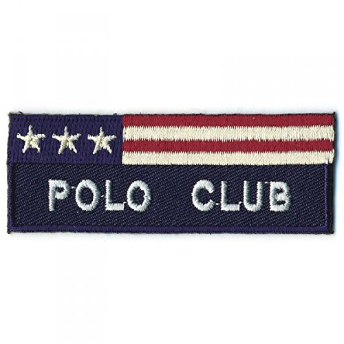 """Parche termoadhesivo, diseño con texto """"Polo Club"""", color azul marino"""