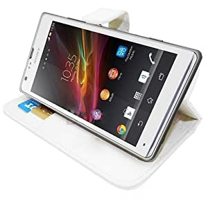 Etui Housse Luxe Blanc Stand & Portefeuille pour Sony XPERIA SP + STYLET et 3 FILMS OFFERTS !