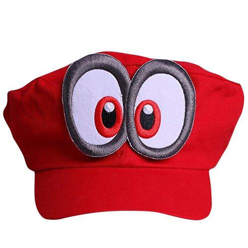 Super Mario Mütze ODYSSEY ROT mit Augen für Erwachsene und Kinder Karneval Fasching Verkleidung Kostüm Mützen Hut Cap Herren Damen Kappe